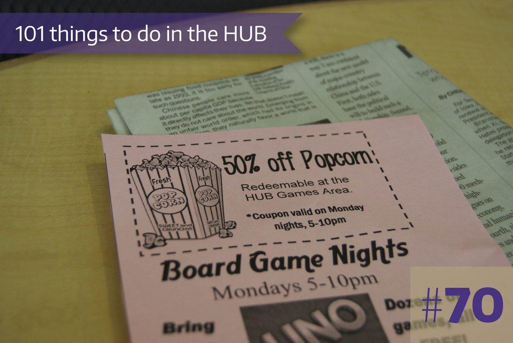 70. Buy freshly popped popcorn at HUB Games