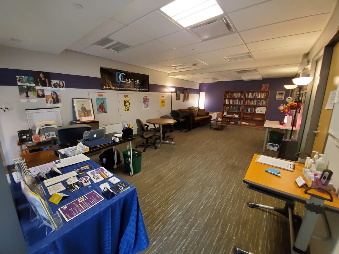 Picture of the interior of the D Center showing the front desk and lounge area