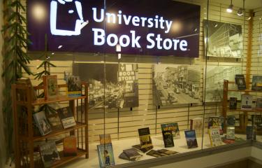 The HUB University Book Store Display Window