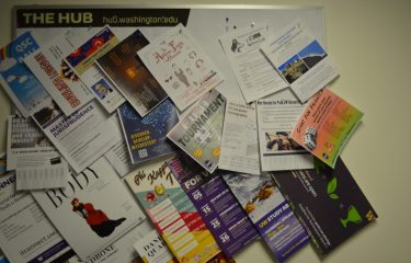 Several Event Flyers Pinned to a Board in The HUB.