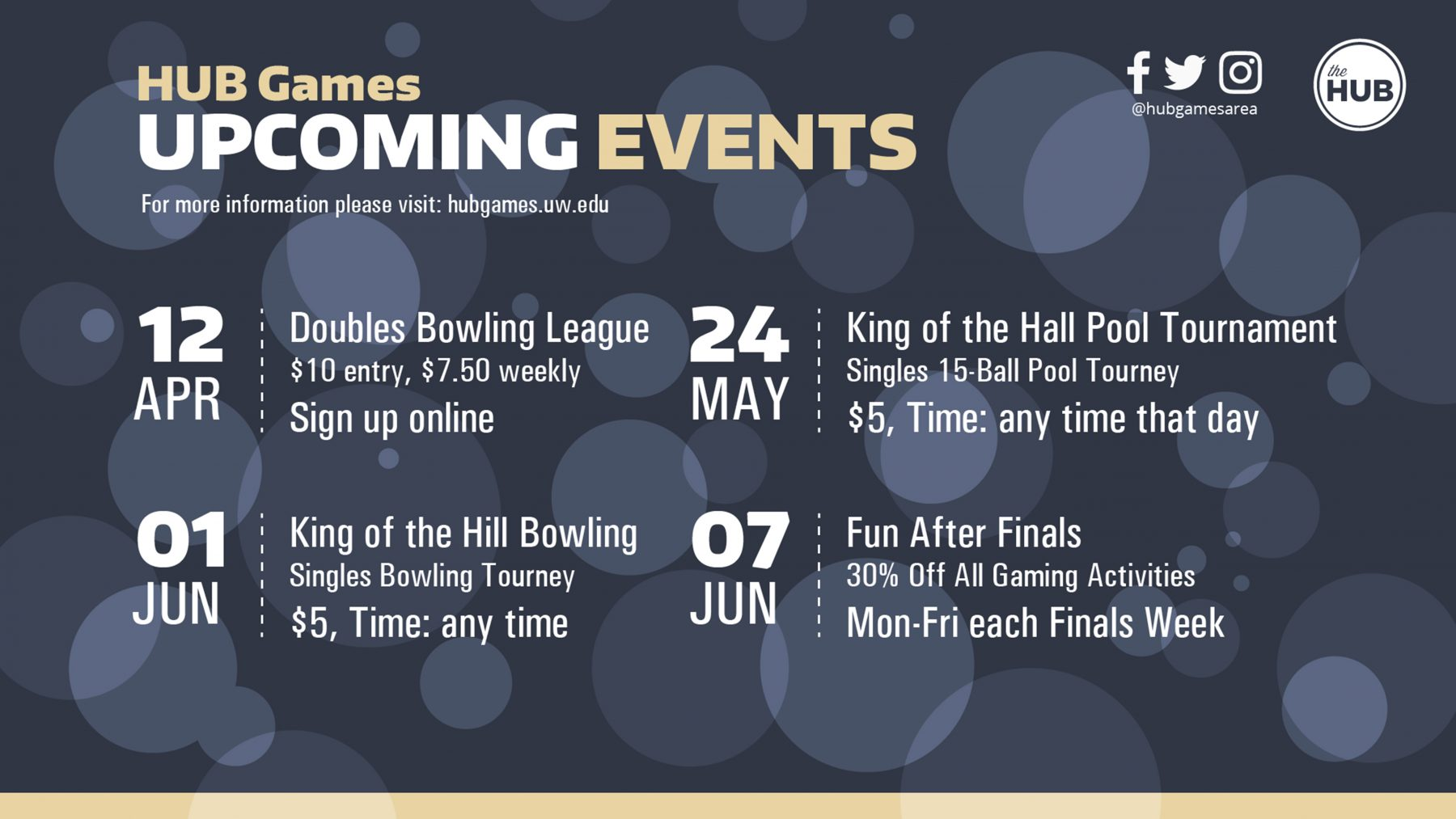 HUB Games Spring Events