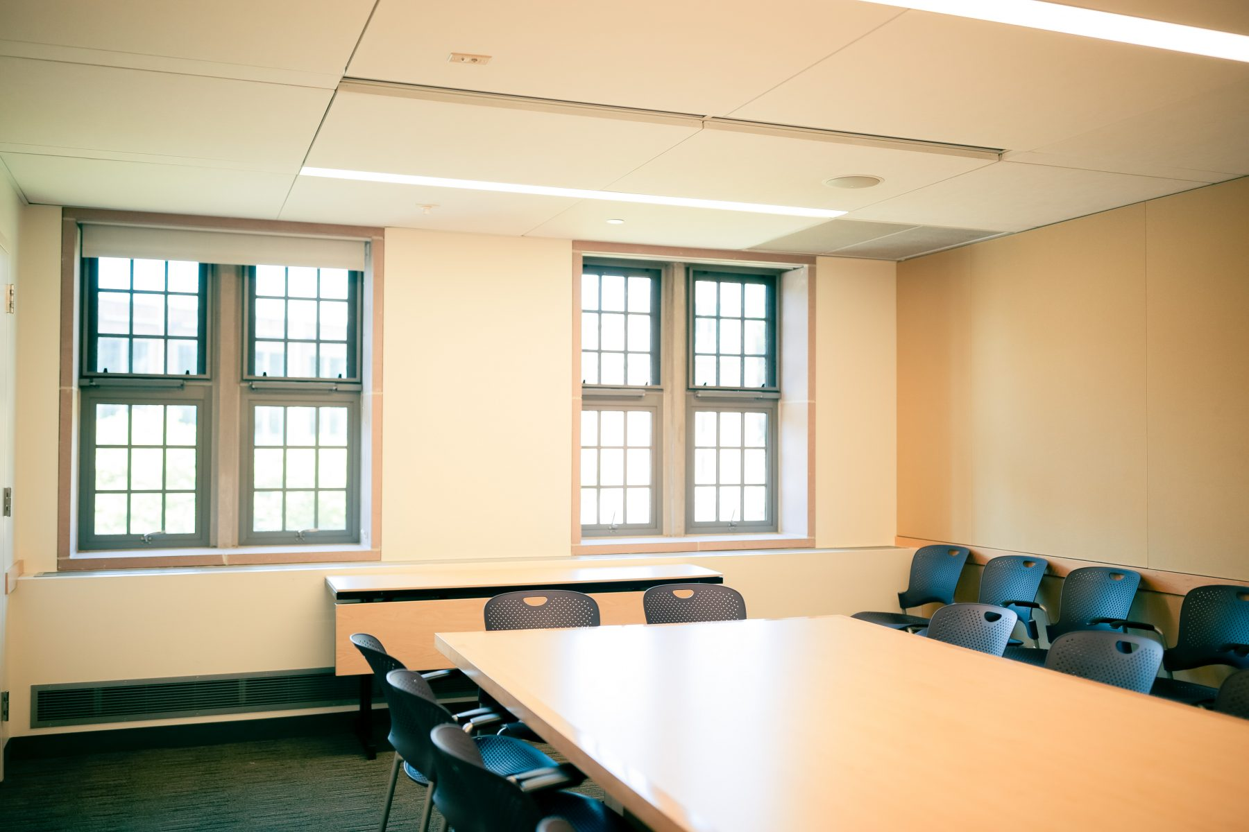 Each conference room includes a projector and Solstice Pod
