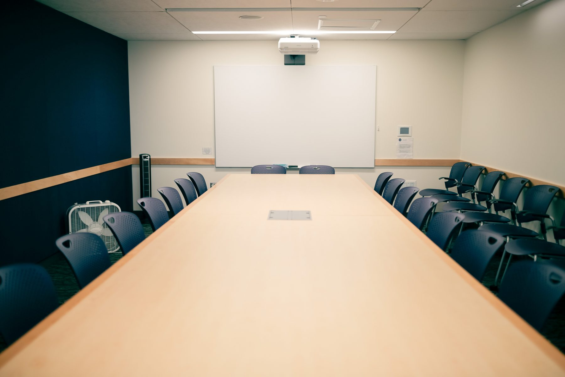 This conference room includes a projector and Solstice Pod