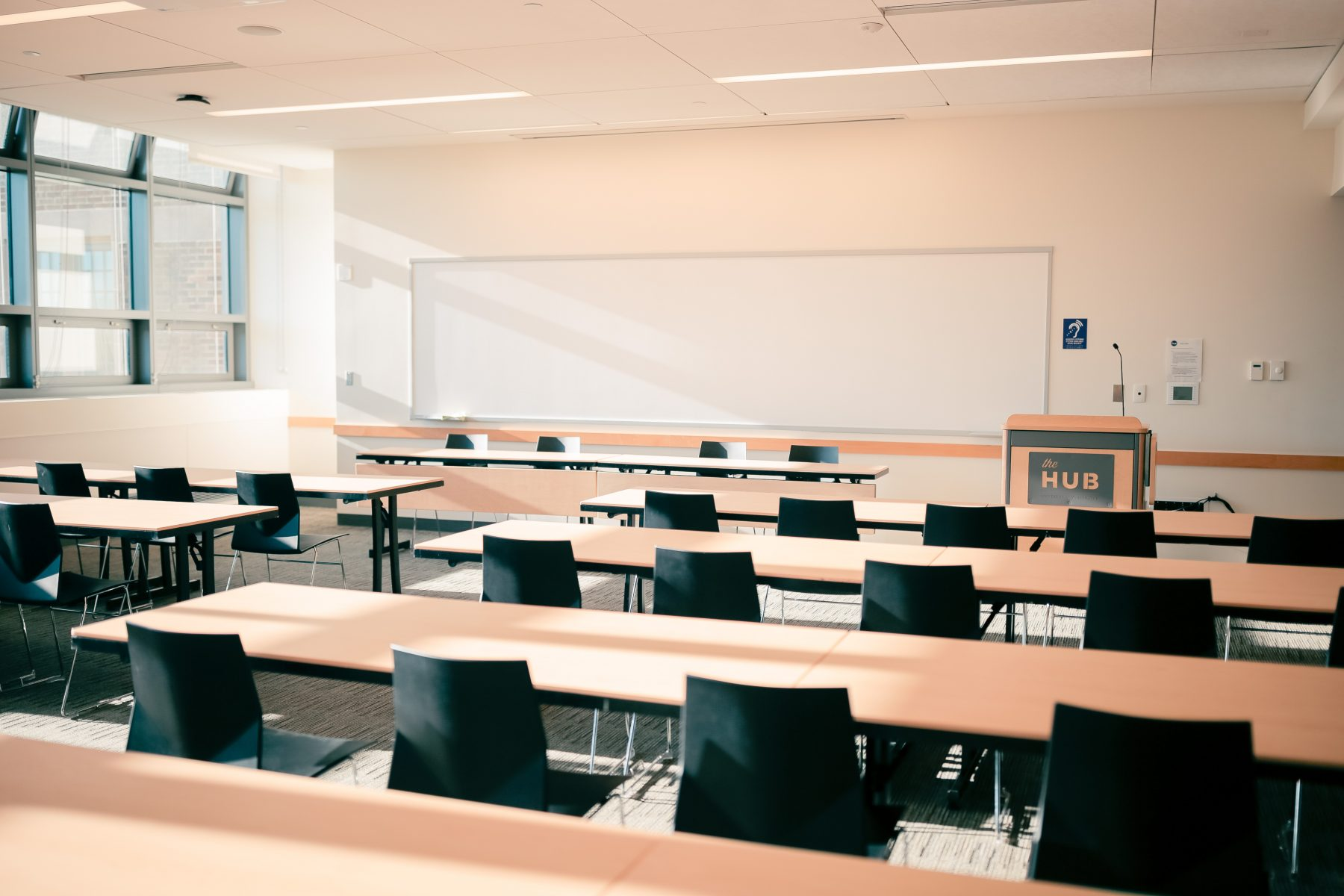 Classroom set, 2 - 6' tables can seat 5 people