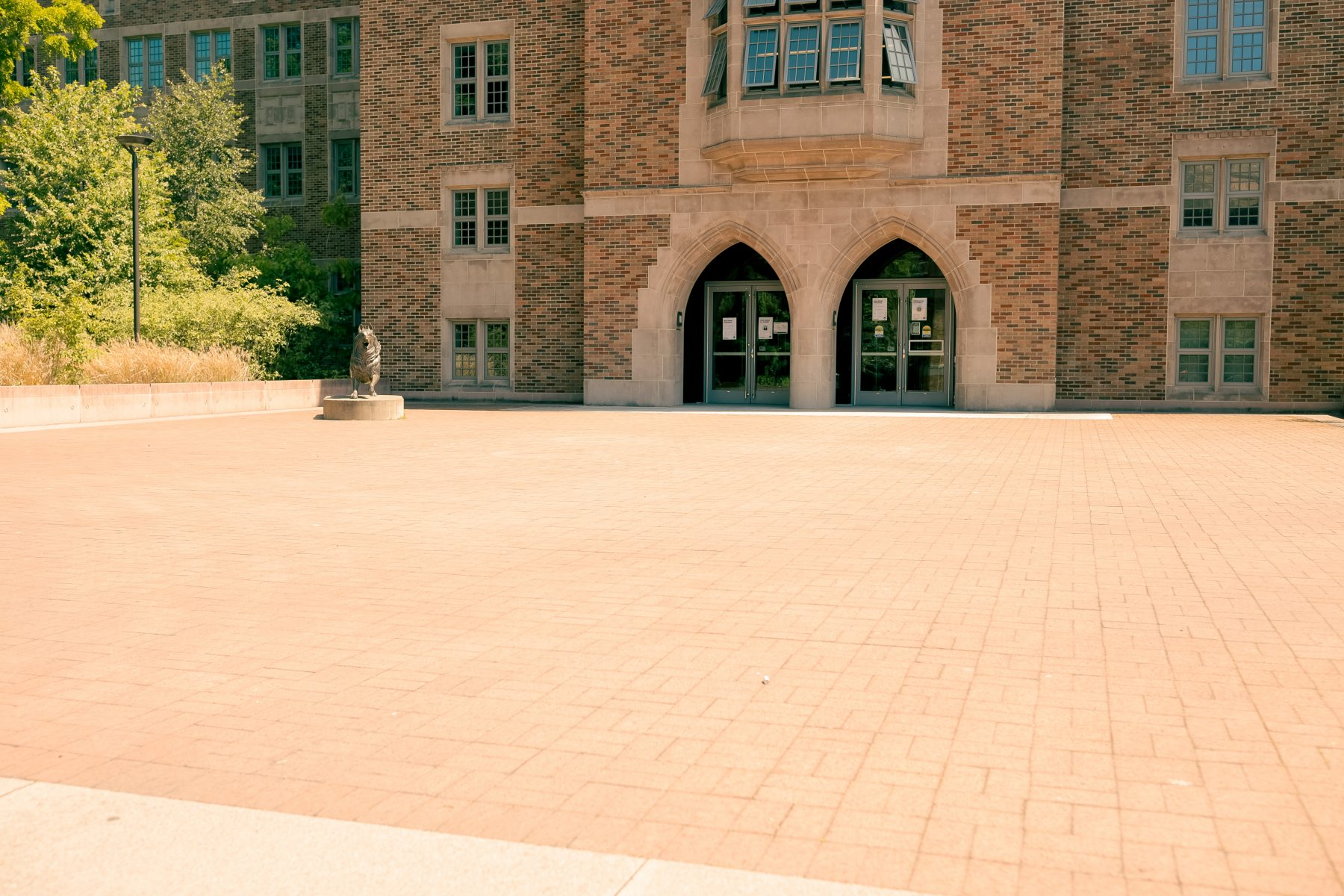 The HUB patio is a brick area located on the West side of the HUB