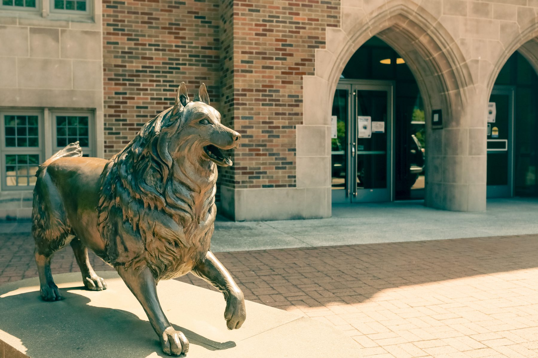 The patio features a classic Husky statue